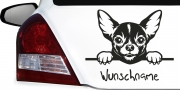 Mobile Preview: Wunschname Aufkleber für Auto mit Chihuahua