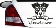Mobile Preview: Wunschname Aufkleber für Auto mit Jack Russel