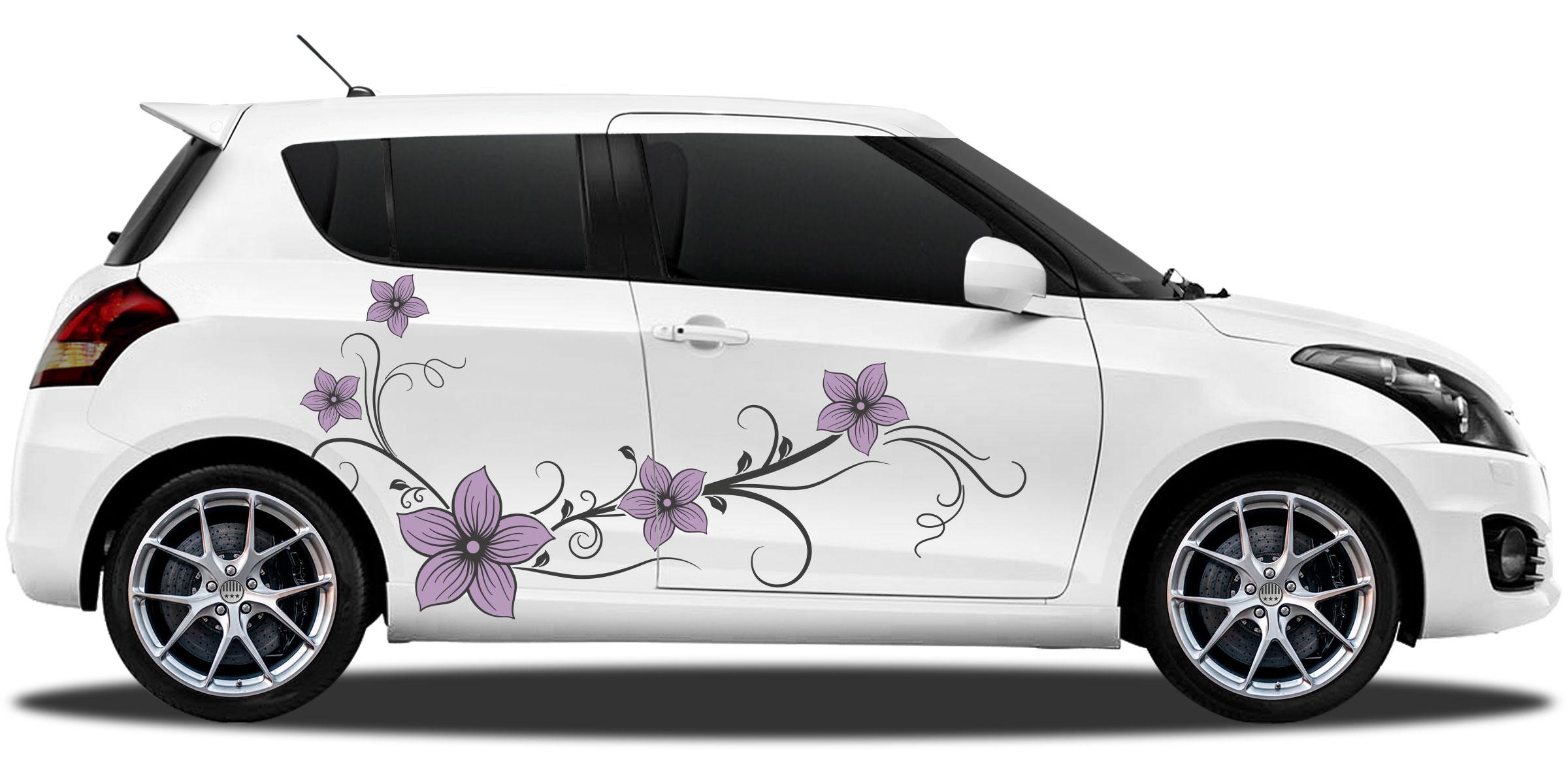 Autoaufkleber Blumenranke In Mehrfarbig