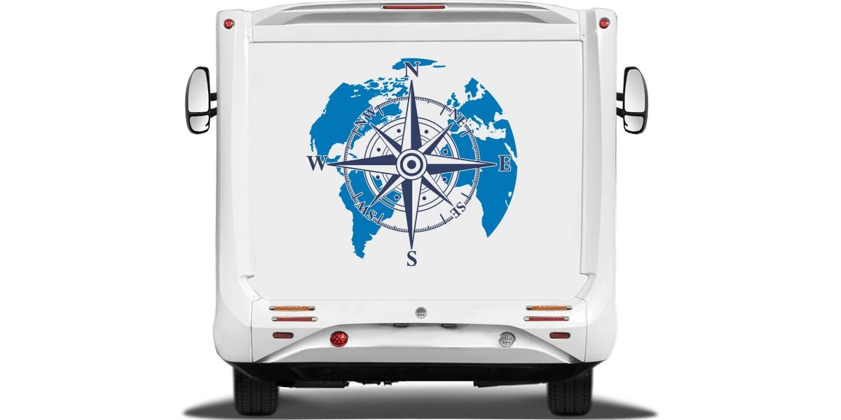 Sticker Für Camper Kompass Mit Weltkarte