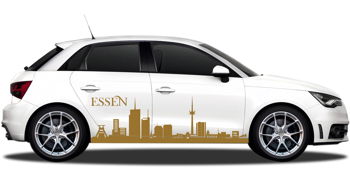 Autosticker mit Essener Skyline
